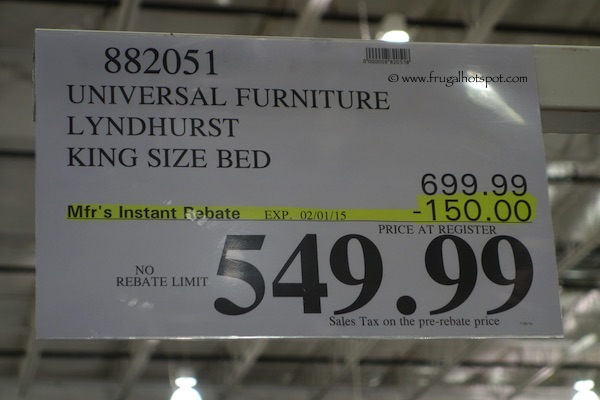 Universal Furniture Lyndhurst King Size Bed Costco Price