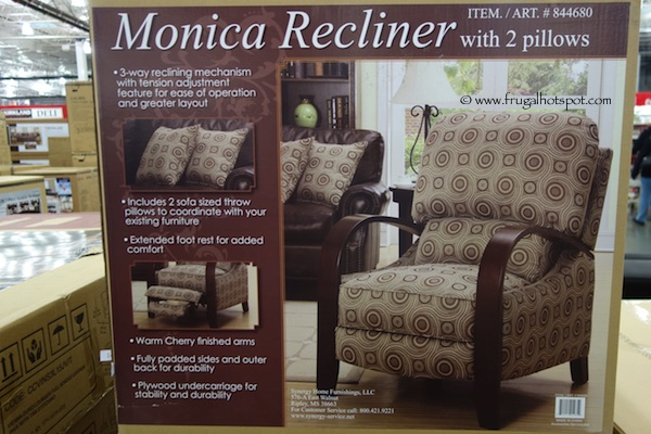 Synergy Home Furnishings Monica Recliner With 2 Pillows Costco