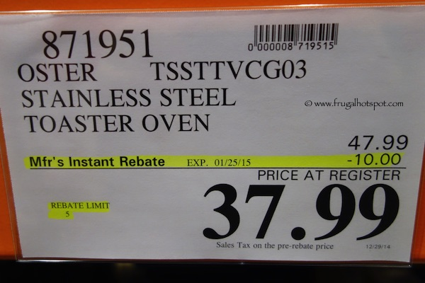 Costco Sale: Oster Stainless Steel Toaster Oven (TSSTTVCG03) Frugal ...
