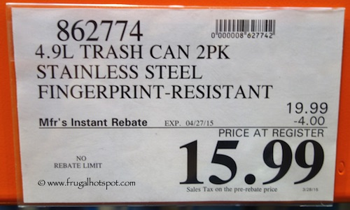 4.9 L Trash Can 2 Pack Stainless Steel Fingerprint  Resistant Costco Price