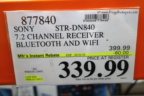 Sony STR-DN840 7.2 Channel Receiver BLuetooth and Wifi Costco Price