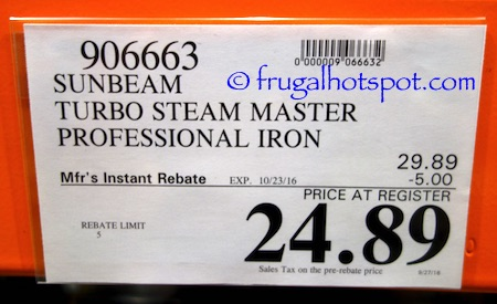 Sunbeam Digital Turbo Steam Iron Costco Price | Frugal Hotspot