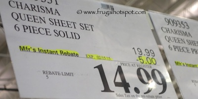 Charisma Queen 6-Piece Polyester Sheet Set Costco Price