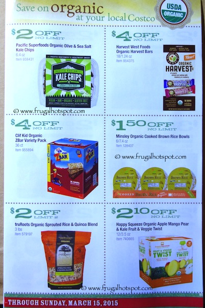 Costco ORGANIC Coupon Book: February 16, 2015 - March 15, 2015. Frugal Hotspot