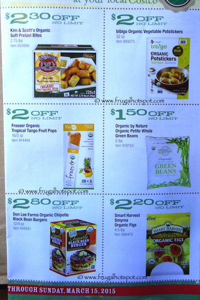 Costco ORGANIC Coupon Book: February 16, 2015 - March 15, 2015.