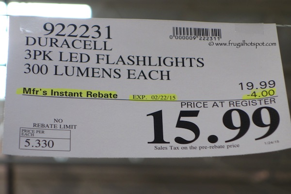 Duracell Durabeam Ultra 3-Pack LED Flashlights 300 Lumens Each Costco Price