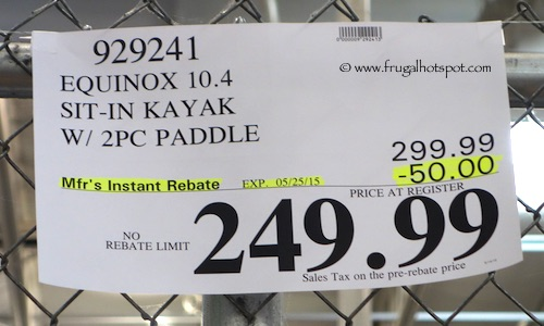 Equinox 10.4 Sit-In Kayak with 2 Piece Paddle Costco Price2