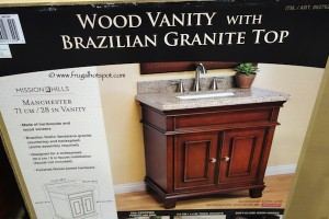 "Mission Hills Manchester 28"" Wood & Granite Vanity with Single Sink Costco"