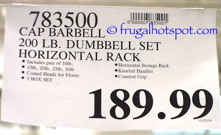 Costco Cap 200 Lb Dumbbell Set With Rack 189 99 Frugal