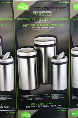 Home Zone Stainless Steel Trash Can 3 Piece Set Costco