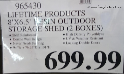 Lifetime 8' x 6.5' Resin Outdoor Storage Shed Costco Price