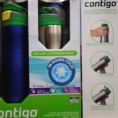 Contigo Brazos 2 Pack 20 oz Stainless Steel Water Bottle Costco