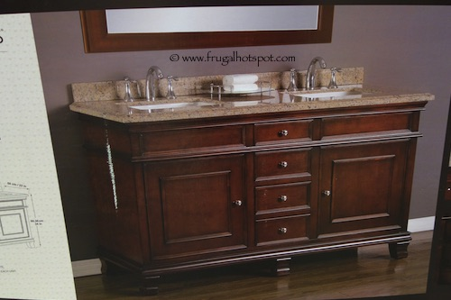 double sink vanity with granite top. Mission Hills Wood Vanity Double Sink With Brazilian Granite Top Costco Clearance  699 97