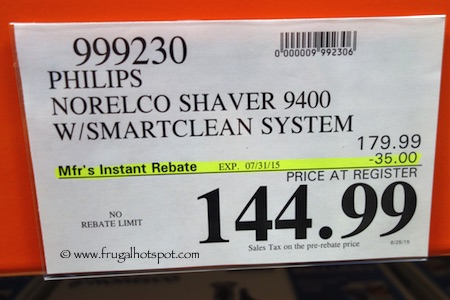 Philips Norelco Shaver 9400 with Smart Clean Costco Price