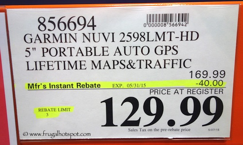 Garmin Nuvi 2598LMT-HD Costco PRice #856694