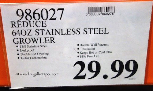 Reduce 64 oz Stainless Steel Growler Costco Price #986027