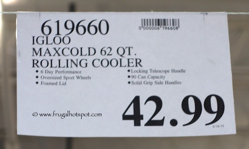 Igloo Maxcold 62 Quart Rolling cooler Costco Price