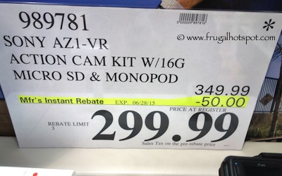 Sony HDR-AZ1VR Action Camcorder Bundle Costco Price