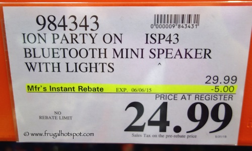 Ion Party On ISP43 Mini Speaker with Party Lights Costco Price