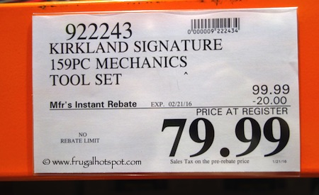 kirkland signature 159-piece mechanics tool set costco price ...