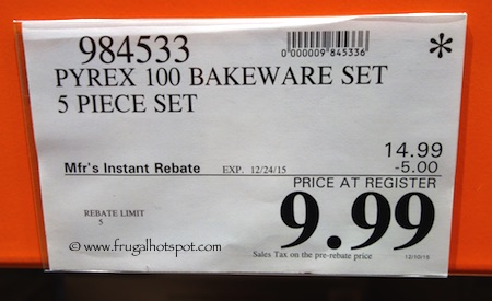 Pyrex 5-Piece Glass Bakeware Set Costco Price
