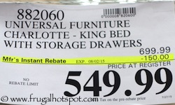 Universal Furniture Broadmoore Charlotte King Bed with Storage Drawers Costco Price