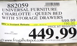 Universal Furniture Broadmoore Charlotte Queen Bed with Storage Drawers Costco Price