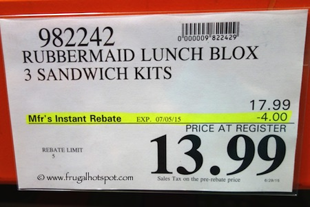 Rubbermaid Lunch Blox 3-Kits Costco Price