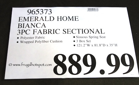 Emerald Home Bianca 3-Pc Fabric Sectional Costco Price