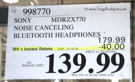 Sony Wireless Noise Canceling Headphones Model #MDRZX770 Costco Price