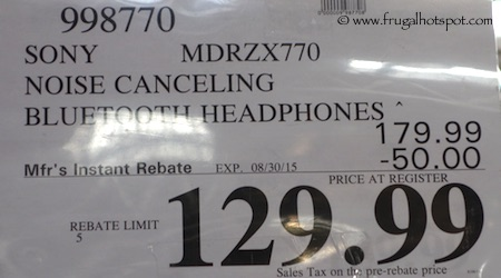 Sony Wireless Noise Canceling Headphones MDRZX770 Costco Price