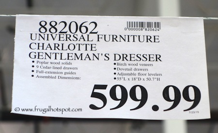 Universal Furniture Broadmoore Charlotte Gentleman's Dresser Costco Price