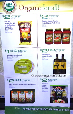 Costco ORGANIC Coupon Book: September 8, 2015 - October 5, 2015. Page 3.