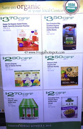 Costco ORGANIC Coupon Book: September 8, 2015 - October 5, 2015. Page 4