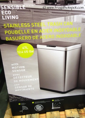 Sensible Eco Living 47L Stainless Steel Trash Can with Motion Sensor Costco