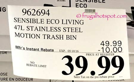 Sensible Eco Living 47L Stainless Steel Trash Can with Motion Sensor Costco Price   Frugal Hotspot