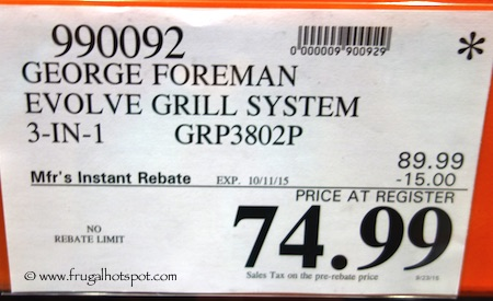 George Foreman Evolve Grill System (GRP3802P) Costco Price