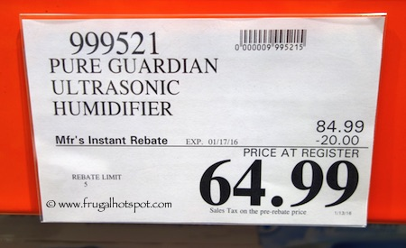 Pure Guardian Ultrasonic Mist Humidifier Costco Price