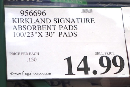 Kirkland Signature Extra-Large Absorbent Pads for Dogs 100 Count Price