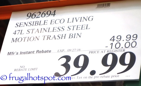 Sensible Eco Living 47L Stainless Steel Trash Can with Motion Sensor Costco Price | Frugal Hotspot