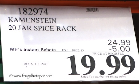 Kamenstein 20 Jar Stainless Steel Spice Rack Costco Price