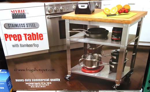Seville Classics Stainless Steel Prep Table with Bamboo Top Costco