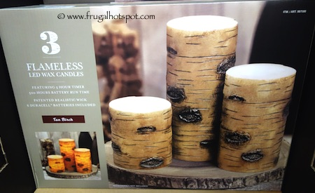 3-Pack Flameless LED Tan Birch Pillars Decor Wax Candles Costco