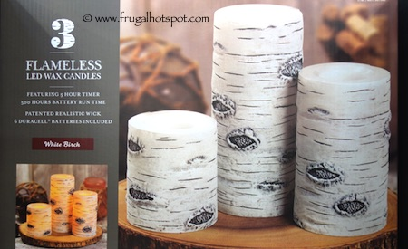 3-Pack Flameless LED White Birch Pillars Decor Wax Candles Costco