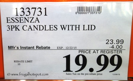 Essenza 3-Pack Luxury Fragrance Candle Costco Price