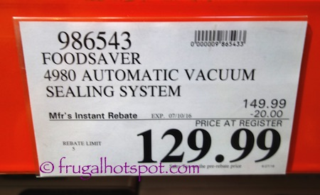 FoodSaver 4980 Automatic Vacuum Sealing System Costco Price | Frugal Hotspot