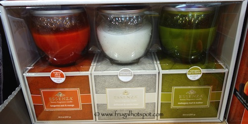Essenza 3-Pack Luxury Fragrance Candle Tangerine Zest and Mango, Driftwood and Vanilla Bean, Mahogany Leaf and Leather Costco