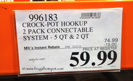 hook up crock pot costco Crock-pot® 35-quart oval hook up™ connectable entertaining system in metallic blue same day delivery eligible same day delivery eligible 43 out of 5 stars 43 reviews $4999 free shipping on orders over $29 image of crock- pot® 2-quart round hook up™ connectable entertaining system quick view.