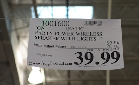 Ion Party Power Wireless Speaker with Party Lights Costco Price
