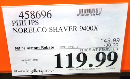 Philips Norelco Shaver 9400X Costco Price